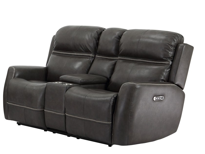 Recliner 2 seater leather sofa with electric moti