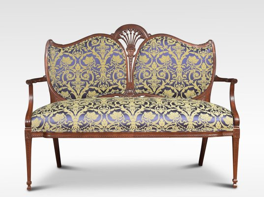 Antique Fabric and Mahogany 2-Seater Sofa for sale at Pamo
