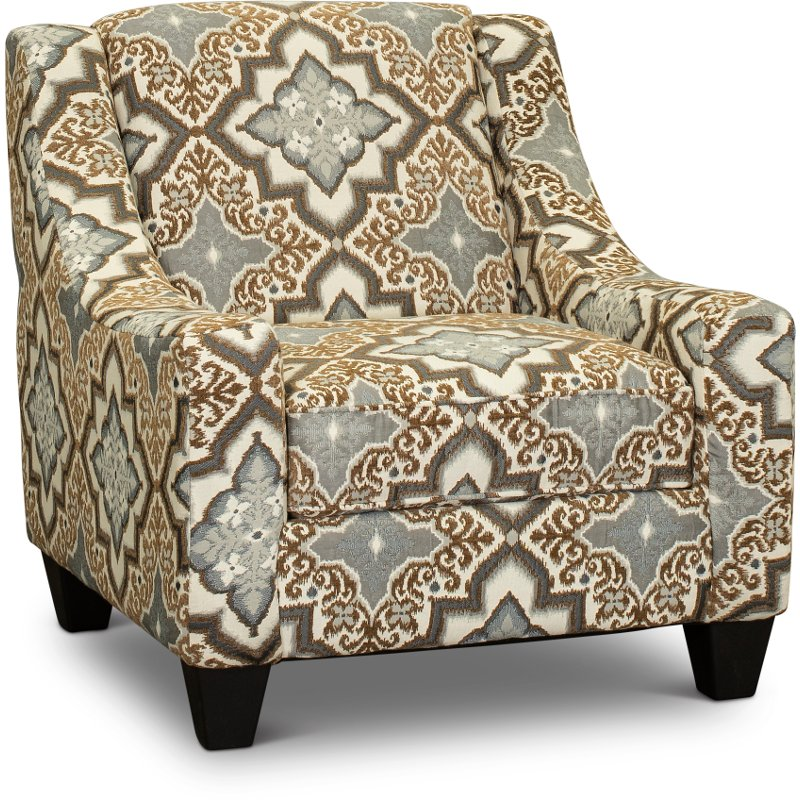 Casual Traditional Brown and Blue Accent Chair - Anna | RC Willey .