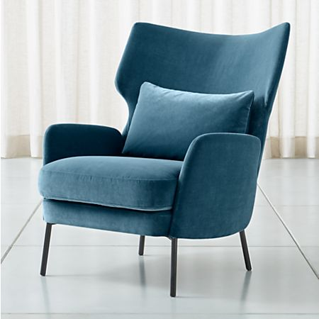 Alex Navy Blue Velvet Accent Chair + Reviews | Crate and Barr