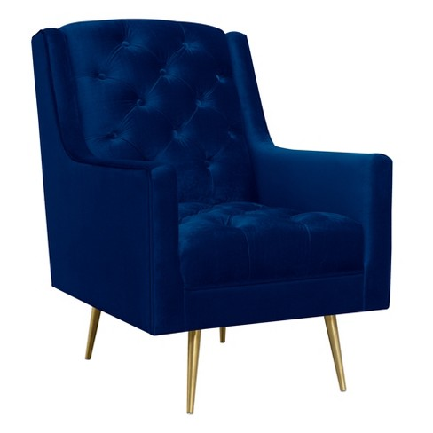 Reese Accent Chair With Gold Legs Navy Blue - Picket House .