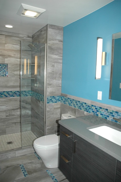 Master Bath Blue Glass Mosaic Accent Tile - Contemporary .