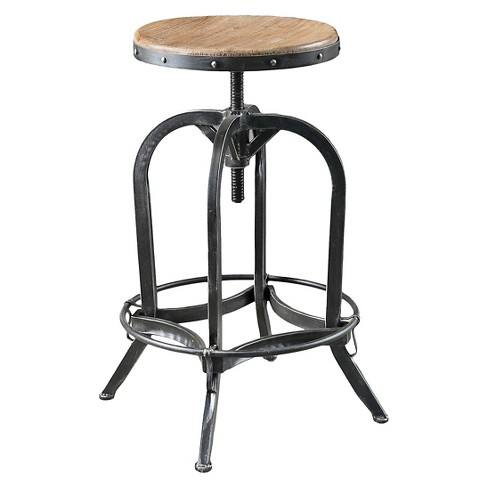 Farmdale Industrial Adjustable Swivel Bar Stool Natural Antique .