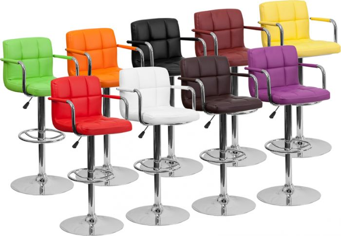 Quilted Mid-Back Swivel Bar Stool with Adjustable Height & Ar