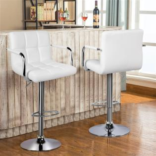 Yaheetech Adjustable Bar Stools Breakfast Barstool with Back and .
