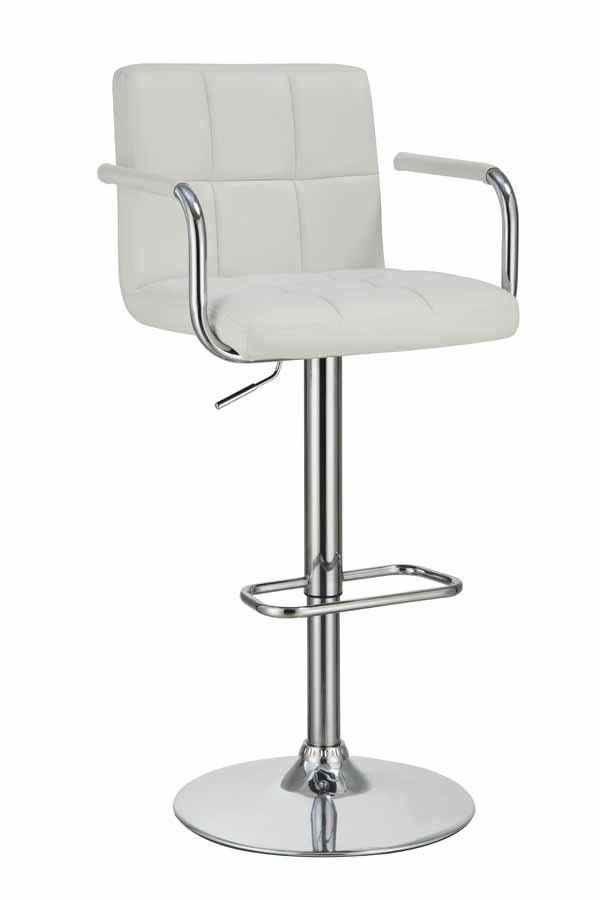 REC ROOM/BAR STOOLS: HEIGHT ADJUSTABLE - Contemporary White and .
