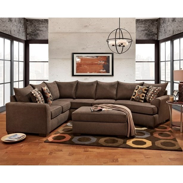 Affordable Furniture Essence Earth Brown Sectional Sofa with .