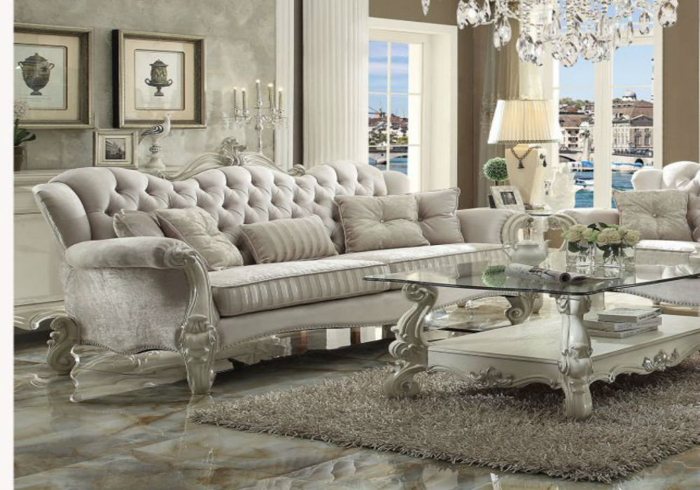 Versailles White Velvet Sofa - Skeffington's Furniture and Mattre