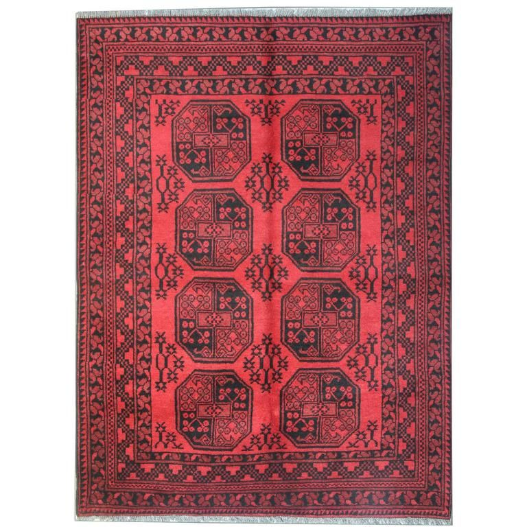 Red Afghan Rugs, Floor Rugs for Sale with Turkmen Design Carpet .