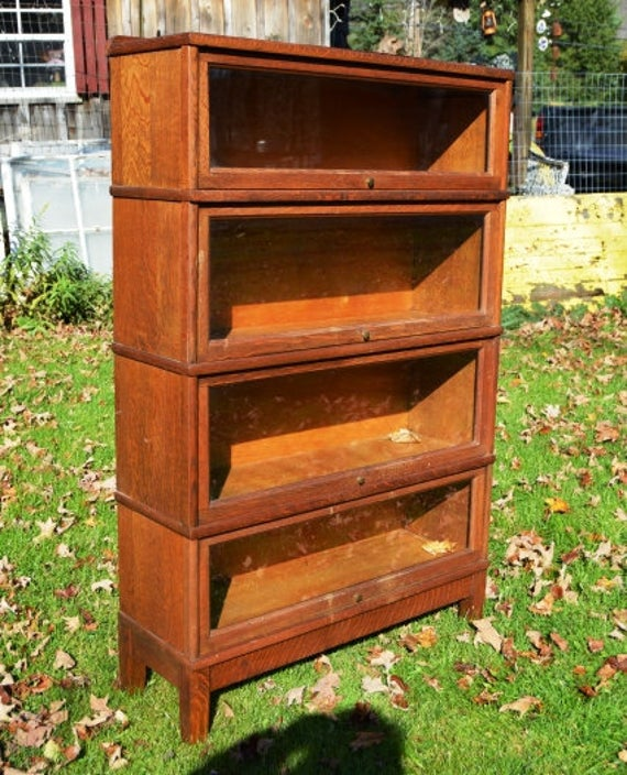Pick Up Only Antique Barrister Bookcase 4 Section Stackable | Et