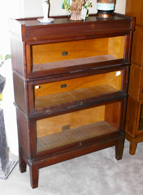 Walnut three stack lawyer or barrister bookcase For Sale .