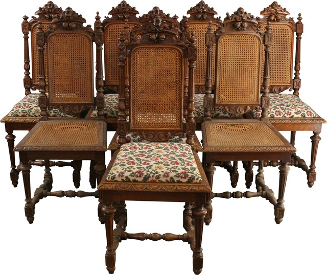 Consigned 8 Antique Dining Chairs 1880 French Hunting - Tropical .