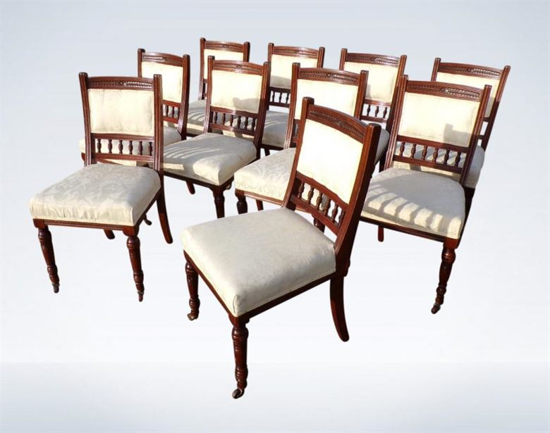 Set 10 Victorian Antique Dining Chairs Arts & Crafts With Padded .