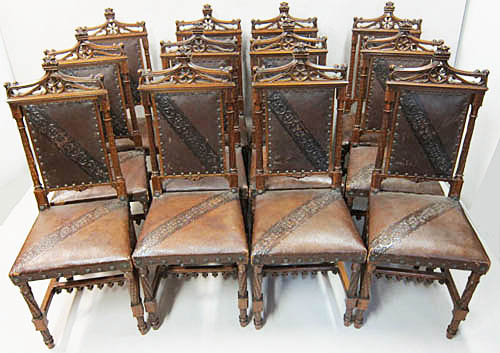 12 French Antique Dining Chairs Leather-51