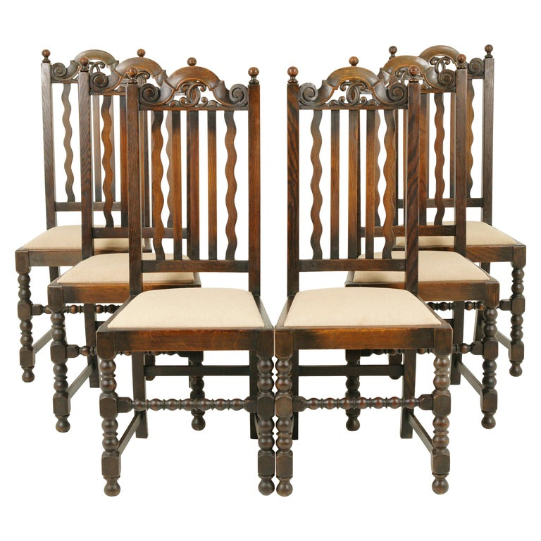 Antique Dining Chairs, 6 Oak Dining Chairs, Scotland 1920, B1726 .