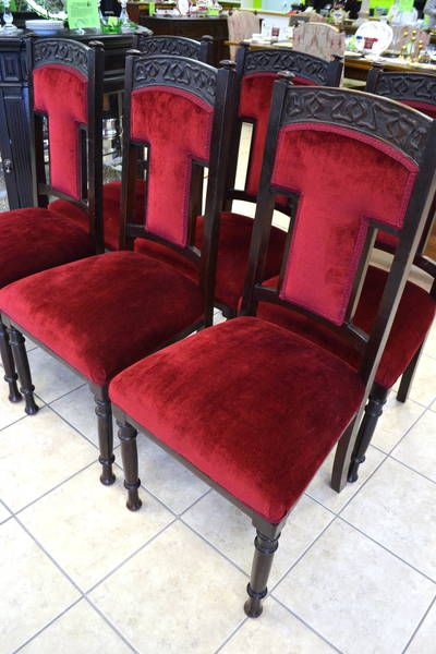 c1907 Set of 6 Edwardian Antique Dining Chairs with Berry Red .