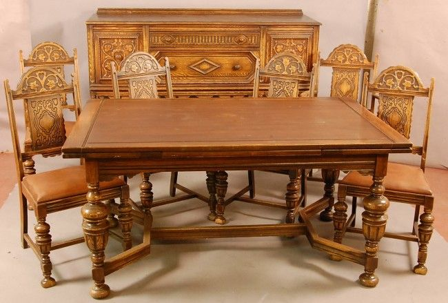 jacobean carved dining 1900 | 549: Jacobean style 1920's Oak 8 pc .