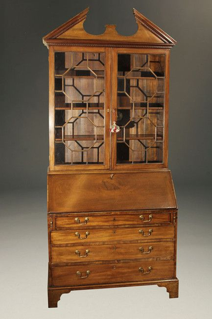 Antique English drop front secretary with bookcase | English .