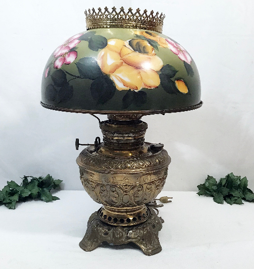 Antique 1890's Juno Brass Victorian Parlor Light - The Elegance Of .
