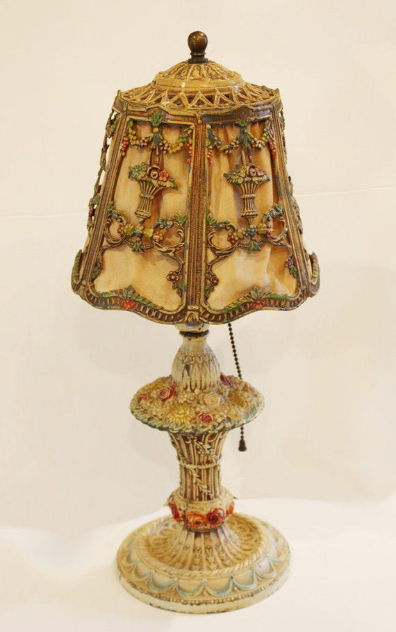 Barbola Lamp and Shade Antique Lamps Flowers Ribbon Swags   Et