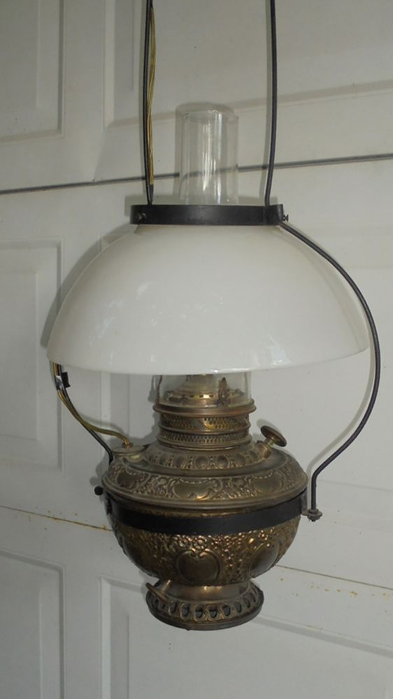 Antique Hanging Store Oil Lamp The New Rochester c. 1892 Electric .
