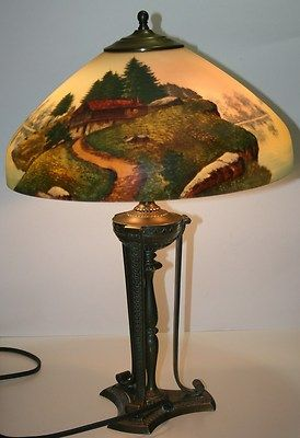 ANTIQUE PAIRPOINT TABLE LAMP W/ REVERSE PAINTED SHADE | Antique .