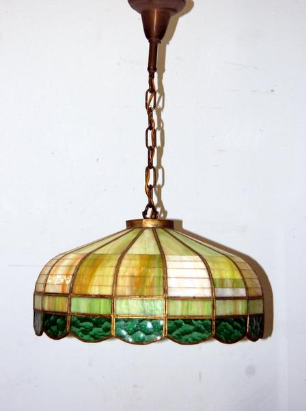 Antique 1930s Stained Glass Hanging Light Fixture, Vintage .