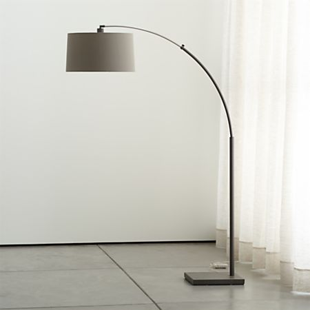 Dexter Arc Floor Lamp with Grey Shade + Reviews   Crate and Barr
