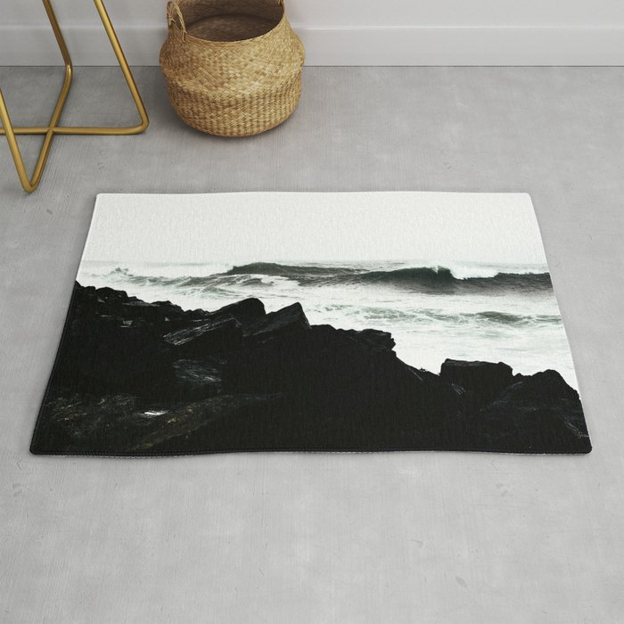 Modern black and white ocean rocks artistic Rug by pink_water .