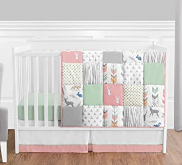 Amazon.com : Coral, Mint and Grey Woodsy Deer Girls Baby Bedding 4 .