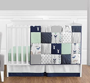 Amazon.com : Navy Blue, Mint and Grey Woodsy Deer Boys Baby .