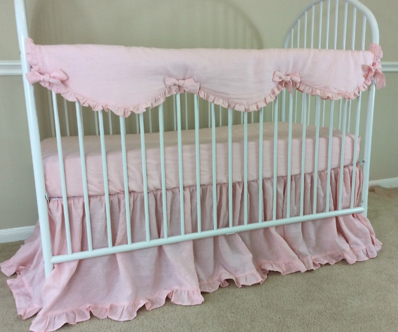 Baby Girl Bumperless Crib Bedding | Handcrafted by Superior Custom .
