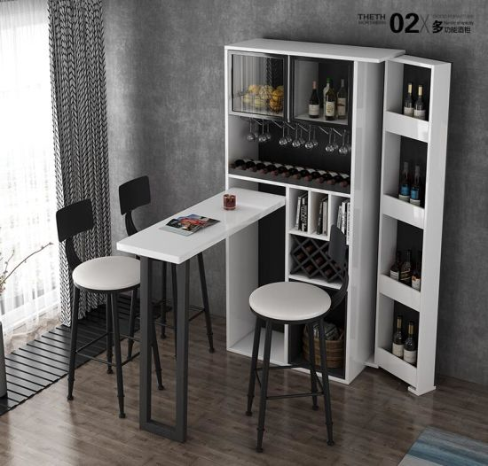 China Modern Simple Foldable Telescopic Bar Table Wine Cabinet .