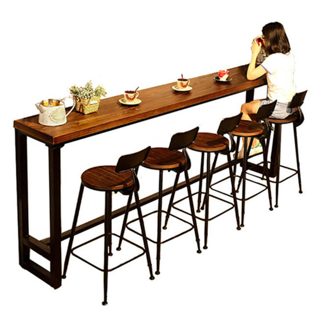 Online Shop Modern Wood Metal High Bar Table Simple Home Coffee .