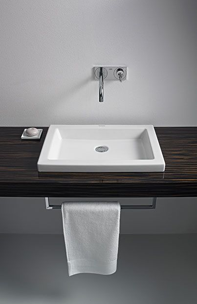 Straight and clean: 2nd floor washbasin and console   Vanity basin .
