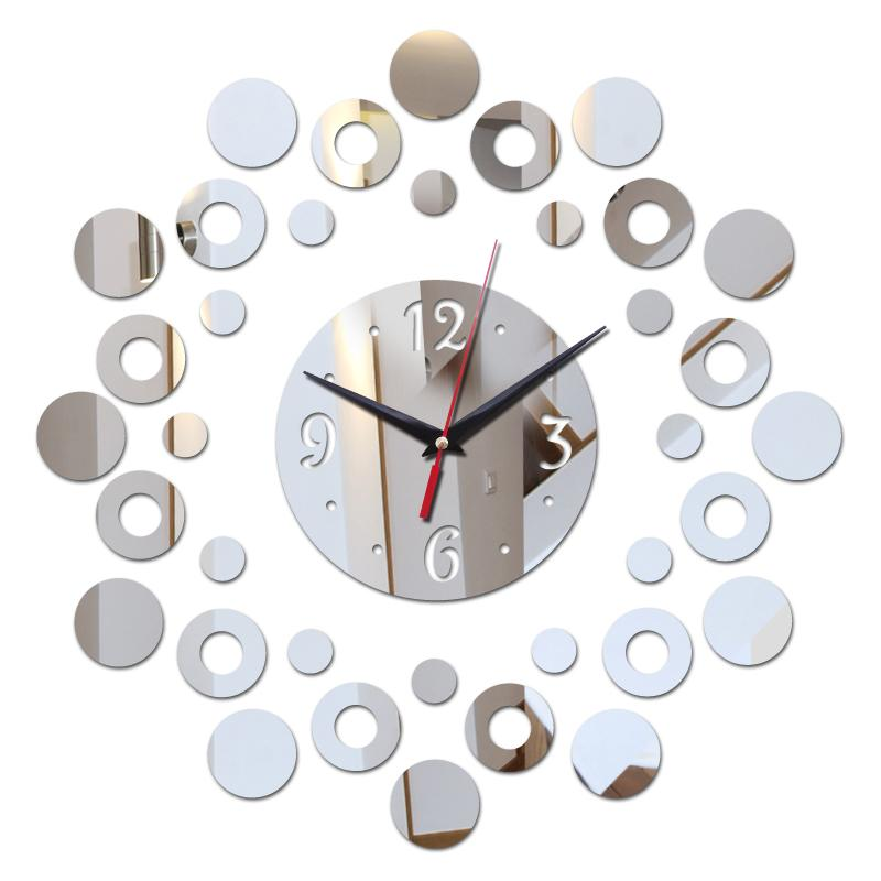 2018 New Mirror 3d Acrylic Modern Design Bathroom Clock Watch DIY .