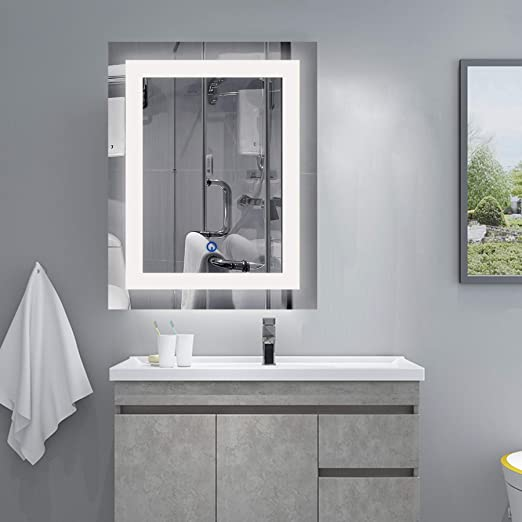 Amazon.com: CO-Z Wall Mounted LED Mirrors, Modern Lighted LED .