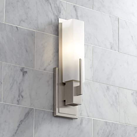 """Midtown Modern Wall Sconce Satin Nickel 15"""" White Glass Sconce for ."""