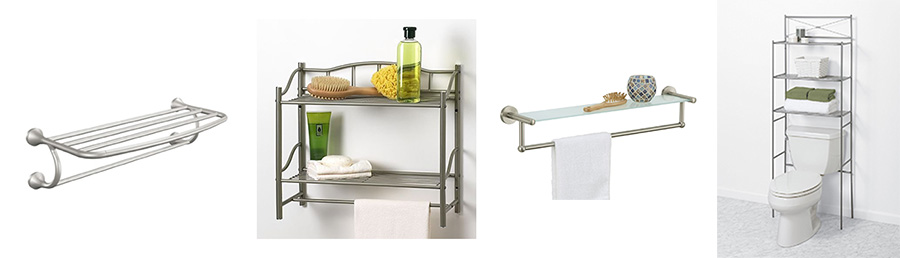 Brushed Nickel Bathroom Shelves With Towel Bar | Over The Toilet .