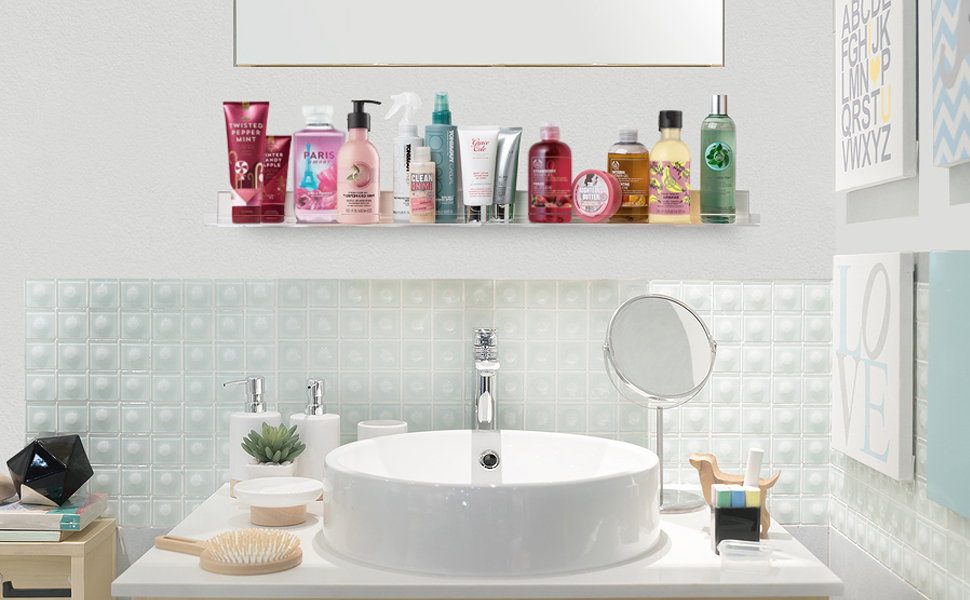 Invisible' Bathroom Shelf Wall Mounted [2 Pack] 15 inch Clear .