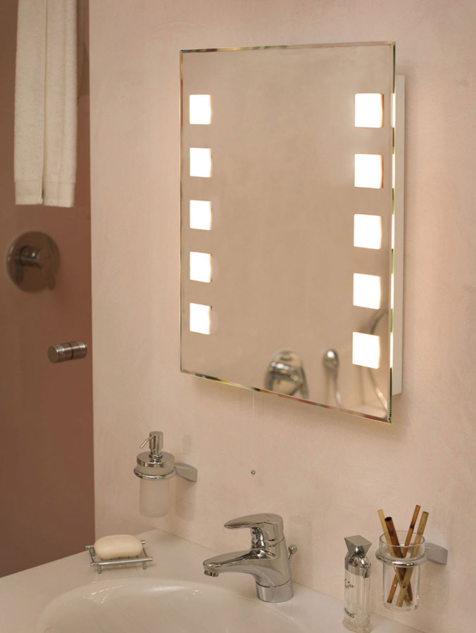 Magnificent lighted vanity mirror in Bathroom Contemporary with .