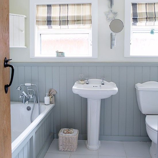 Gray and White Country Bathroom with Wall Panels | Bathroom design .