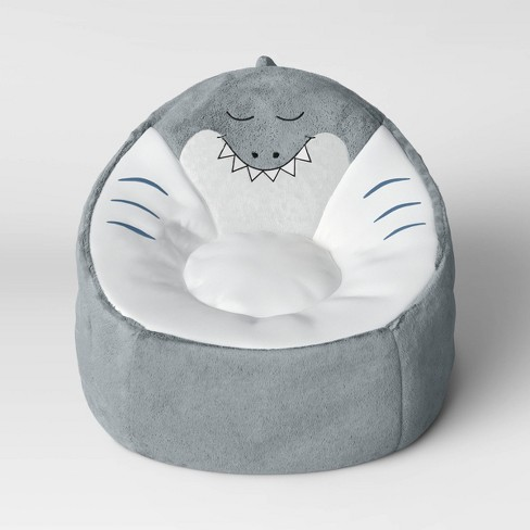 Kids' Character Bean Bag Shark Chair Gray - Pillowfort™ : Targ