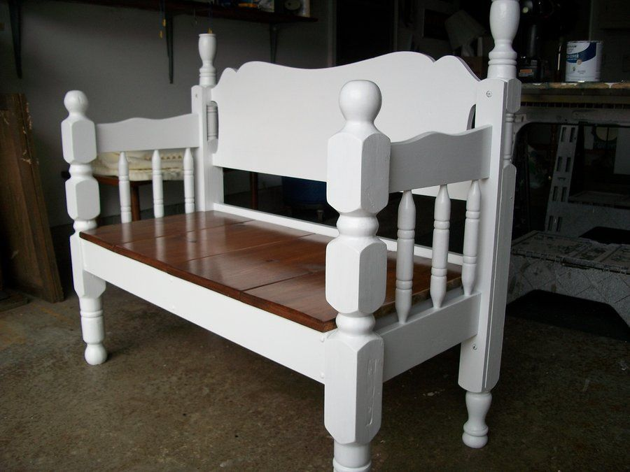 Benches Made From Bed Frames | ... bed frame bench we used a .