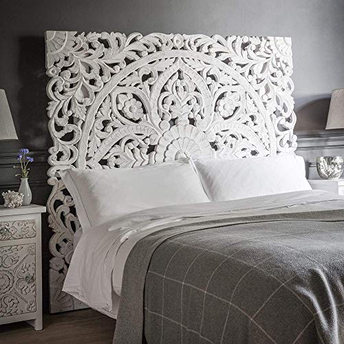 Amazon.com: Queen Size Boho Carved Wood Bed Headboard Hand .