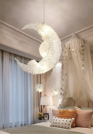 Creative Moon and Stars Fairy LED Pendant Lamp Chandelier Ceiling .
