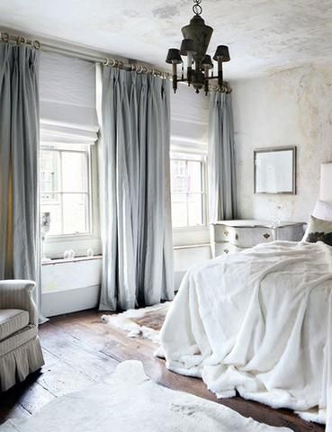 Luxurious bedroom with pale blue velvet curtains | Home bedroom .