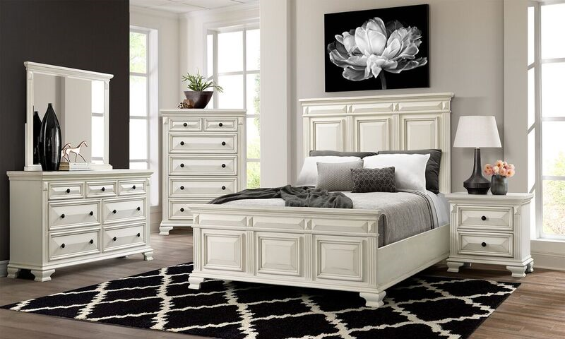 Calloway White Panel Bedroom Set - Queen | Nader's Furnitu