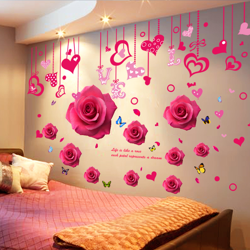Bedroom wall sticker stickers room bedside warm wall decoration .