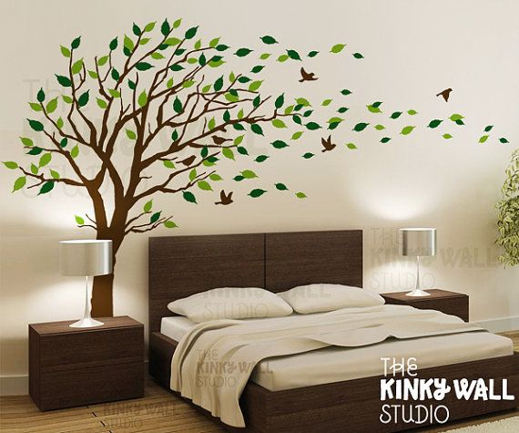 Blowing Tree Wall Decal, bedroom Wall decals wall sticker Vinyl .